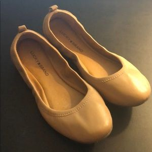 Lucky Eleesia Nude Leather Ballet Flats Size 9.5M